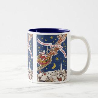 Vintage Christmas Santa Claus With Flying Reindeer Two-Tone Coffee Mug