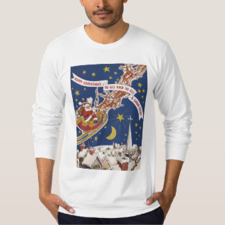 Vintage Christmas Santa Claus With Flying Reindeer T-Shirt