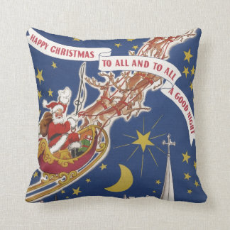 Vintage Christmas Santa Claus With Flying Reindeer Throw Pillow