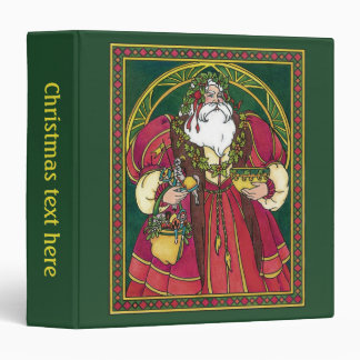 Vintage Christmas, Santa Claus with Holly Leaves 3 Ring Binder