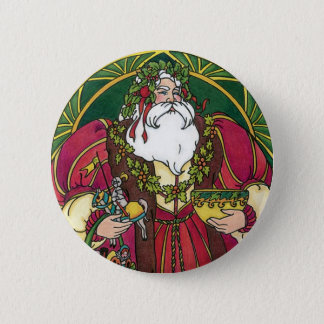 Vintage Christmas, Santa Claus with Holly Leaves Button