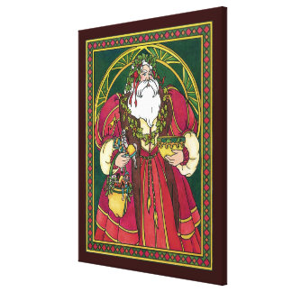Vintage Christmas, Santa Claus with Holly Leaves Canvas Print