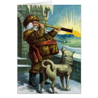 Vintage Christmas Santa Claus with Husky Thank You Card
