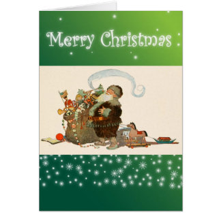 Vintage Christmas Santa Claus with Pipe Antique Card