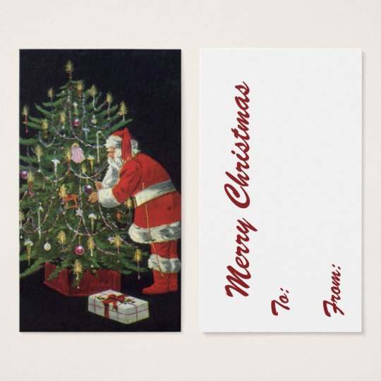 Vintage Christmas, Santa Claus with Presents Business Card