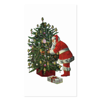 Vintage Christmas, Santa Claus with Presents Double-Sided Standard Business Cards (Pack Of 100)