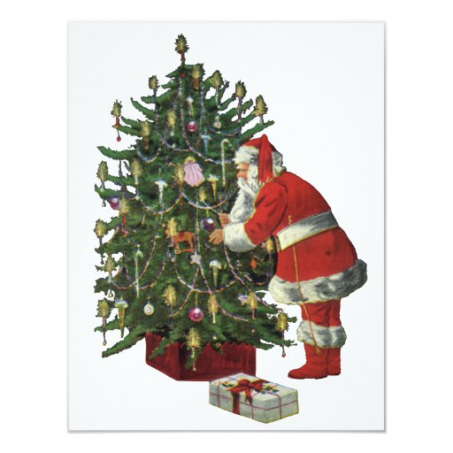 Vintage Christmas, Santa Claus with Presents Card