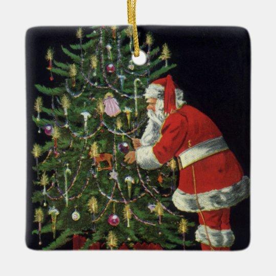 Vintage Christmas, Santa Claus with Presents Ceramic Ornament