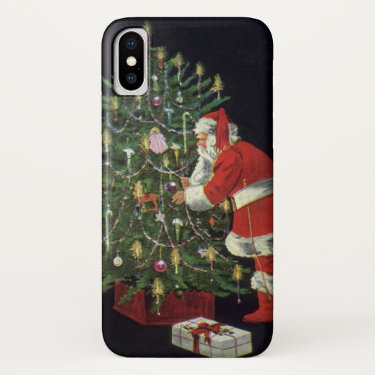 Vintage Christmas, Santa Claus with Presents iPhone X Case
