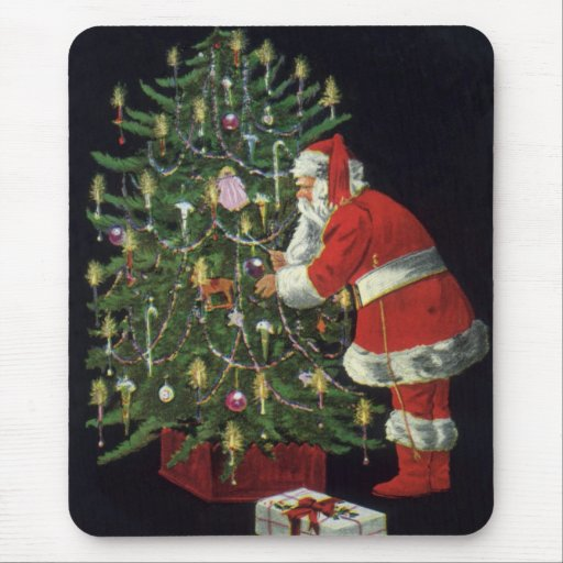 Vintage Christmas, Santa Claus with Presents Mouse Pad