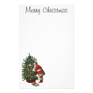 Vintage Christmas, Santa Claus with Presents Stationery