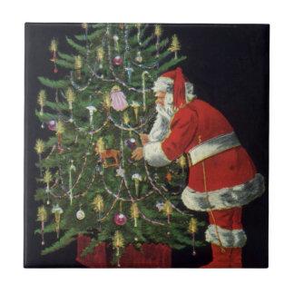 Vintage Christmas, Santa Claus with Presents Tile