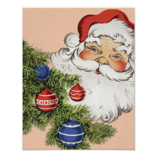 Vintage Christmas Santa Claus with Tree Ornaments Poster