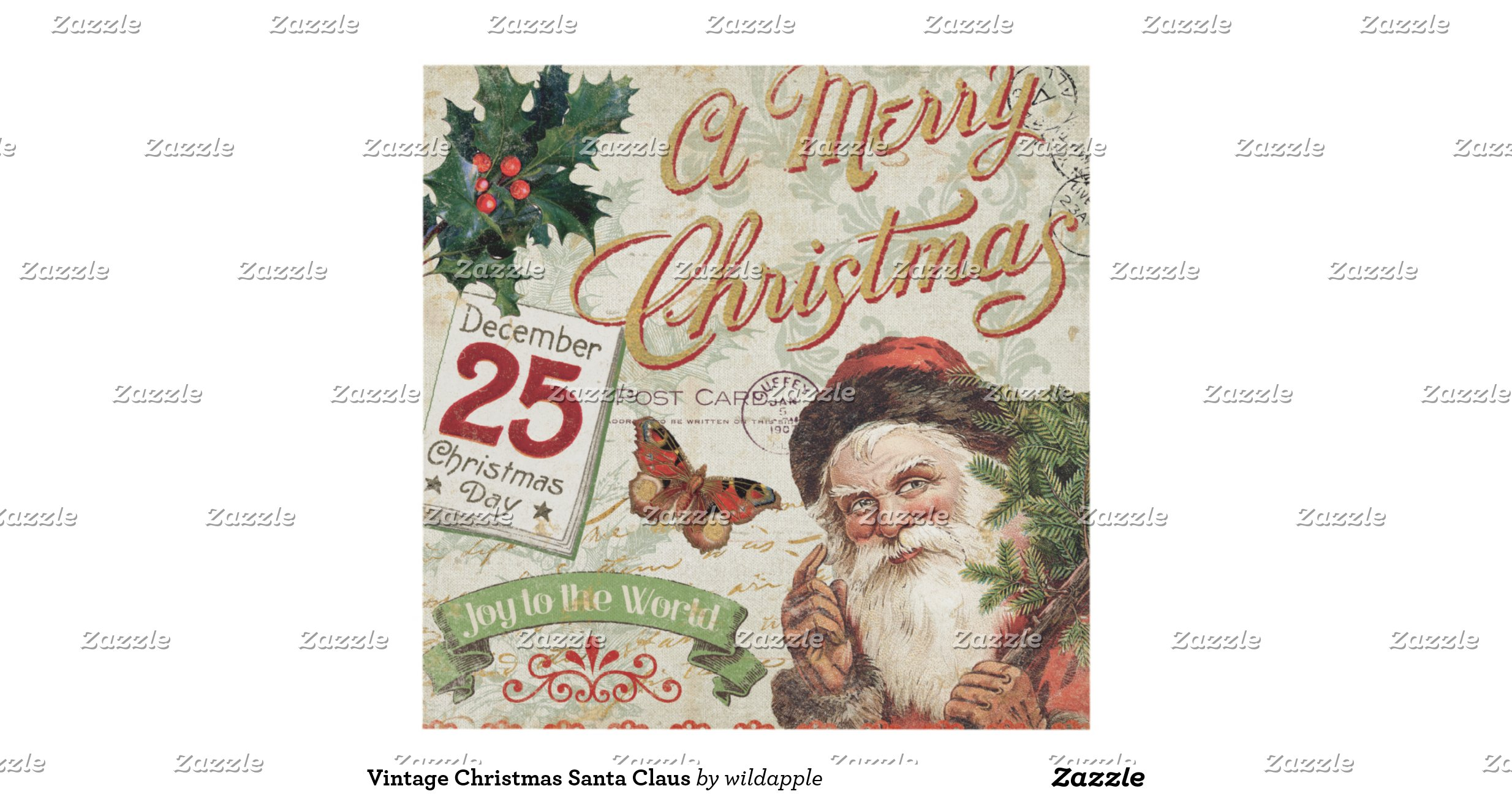 Vintage christmas santa claus wood wall art