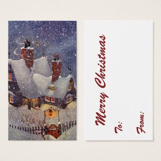 Vintage Christmas, Santa Claus Workshop North Pole Business Card