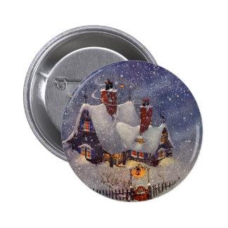 Vintage Christmas, Santa Claus Workshop North Pole Button