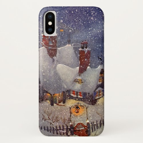 Vintage Christmas Santa Claus Workshop North Pole iPhone X Case