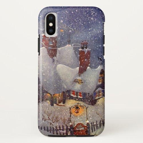 Vintage Christmas Santa Claus Workshop North Pole iPhone XS Case