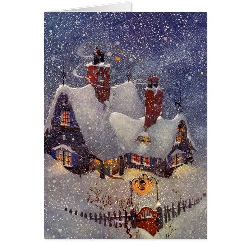 Vintage Christmas, Santa Claus Workshop North Pole Greeting Card