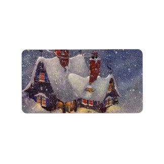 Vintage Christmas, Santa Claus Workshop North Pole Label