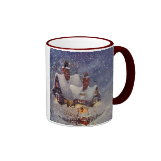 Vintage Christmas, Santa Claus Workshop North Pole Ringer Coffee Mug
