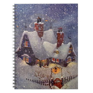 Vintage Christmas, Santa Claus Workshop North Pole Notebook