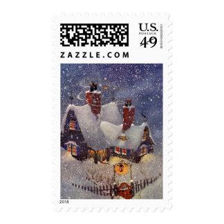 Vintage Christmas, Santa Claus Workshop North Pole Postage