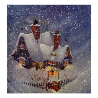 Vintage Christmas, Santa Claus Workshop North Pole Poster