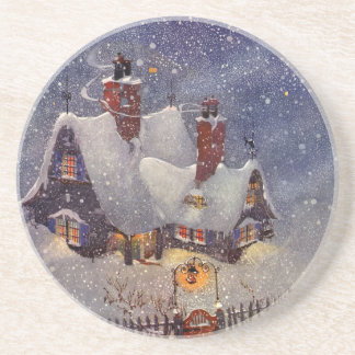 Vintage Christmas, Santa Claus Workshop North Pole Sandstone Coaster