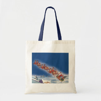 Vintage Christmas, Santa Flying Sleigh Reindeer Bag