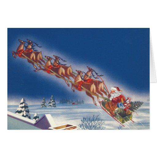 Vintage Christmas, Santa Flying Sleigh Reindeer Card