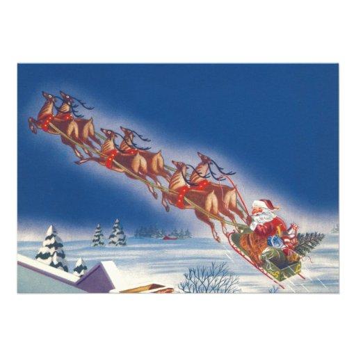 Vintage Christmas, Santa Flying Sleigh Reindeer Announcement