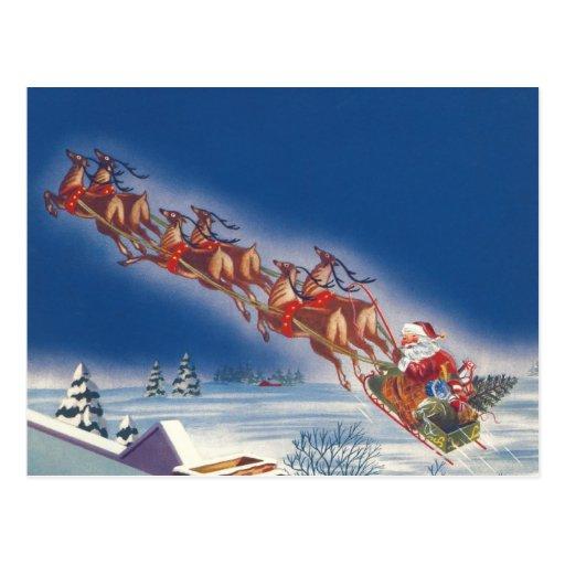 Vintage Christmas, Santa Flying Sleigh Reindeer Postcards