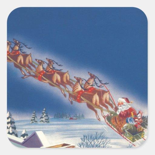 Vintage Christmas, Santa Flying Sleigh Reindeer Square Stickers