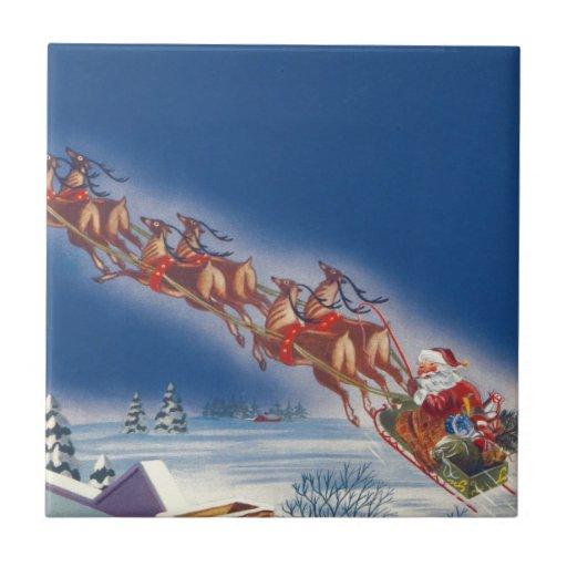 Vintage Christmas, Santa Flying Sleigh Reindeer Tile