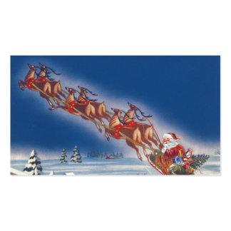 Vintage Christmas, Santa Flying Sleigh w Reindeer Double-Sided Standard Business Cards (Pack Of 100)