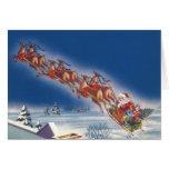 Vintage Christmas, Santa Flying Sleigh w Reindeer Card
