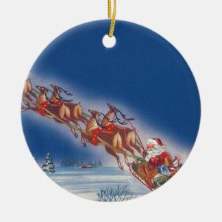 Vintage Christmas, Santa Flying Sleigh w Reindeer Ceramic Ornament