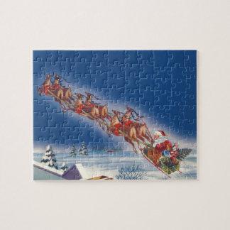Vintage Christmas, Santa Flying Sleigh w Reindeer Jigsaw Puzzle