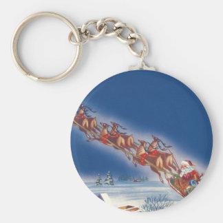 Vintage Christmas, Santa Flying Sleigh w Reindeer Keychain