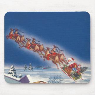 Vintage Christmas, Santa Flying Sleigh w Reindeer Mouse Pad