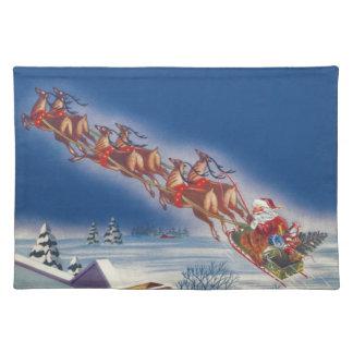 Vintage Christmas, Santa Flying Sleigh w Reindeer Placemat