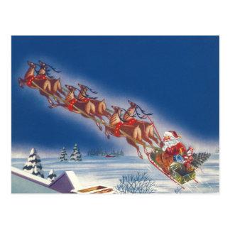 Vintage Christmas, Santa Flying Sleigh w Reindeer Postcard