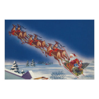 Vintage Christmas, Santa Flying Sleigh w Reindeer Poster