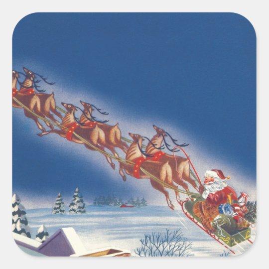 Vintage Christmas, Santa Flying Sleigh w Reindeer Square Sticker