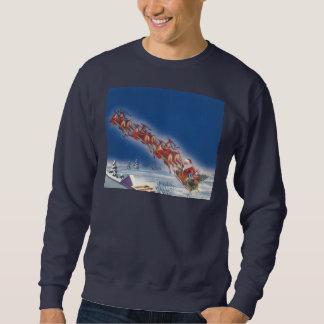Vintage Christmas, Santa Flying Sleigh w Reindeer Sweatshirt