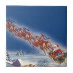 Vintage Christmas, Santa Flying Sleigh w Reindeer Tile