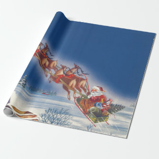 Vintage Christmas, Santa Flying Sleigh w Reindeer Wrapping Paper