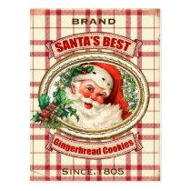 Vintage Christmas Santa Gingerbread cookie Postcard
