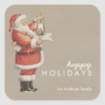 Vintage Christmas Santa Happy Holidays Personalize Square Sticker